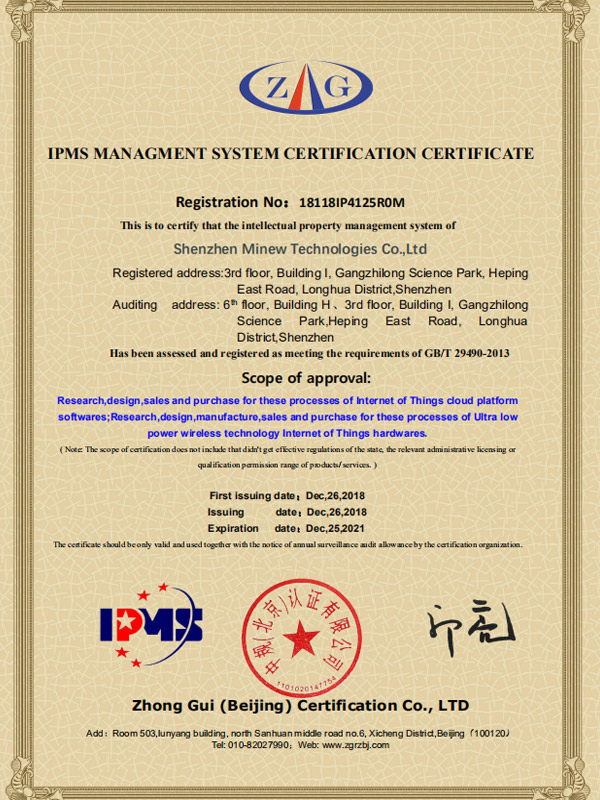 Congratulations to Minew on being awarded the IPMS Management System Certification
